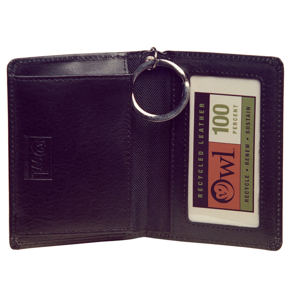 OWL recycled eco leather gusseted ID card holder, black, interior view