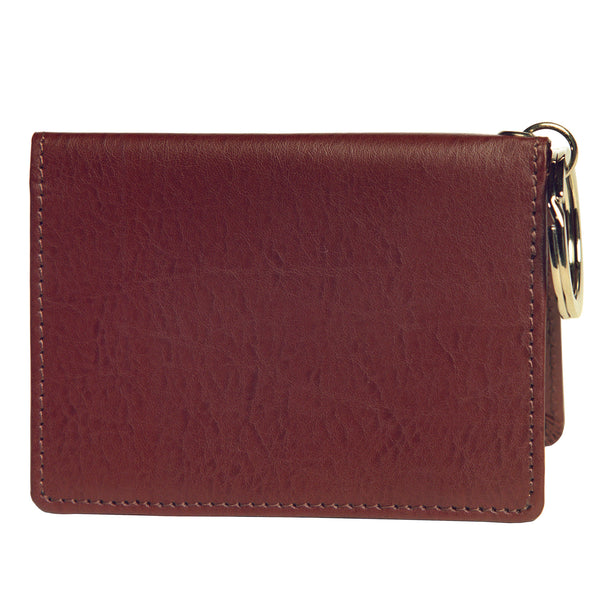 OWL recycled eco leather gusseted ID card holder, cocoa