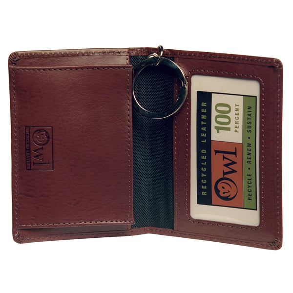 OWL recycled eco leather gusseted ID card holder, cocoa, interior view