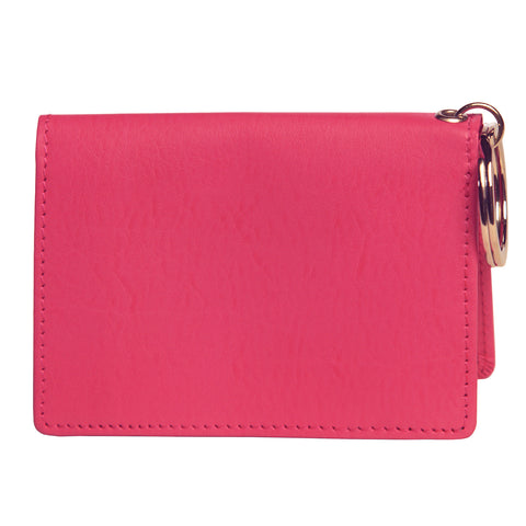OWL recycled eco leather gusseted ID card holder, pink