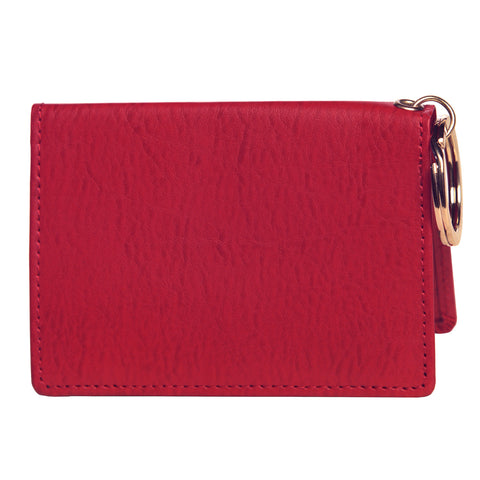 OWL recycled eco leather gusseted ID card holder, red