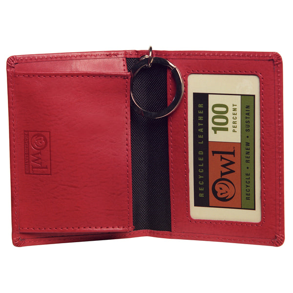 OWL recycled eco leather gusseted ID card holder, interior view