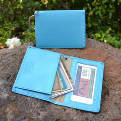 OWL recycled eco leather gusseted ID card holder, sky blue