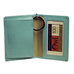 OWL recycled eco leather gusseted ID card holder, sky blue, interior view