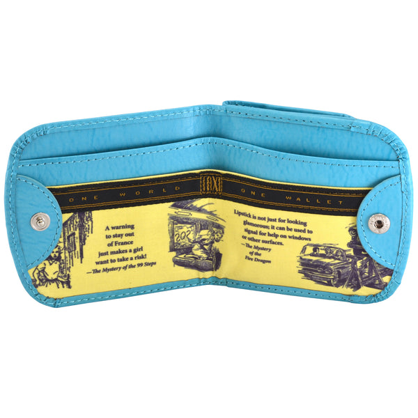 OWL Recycled Nancy Drew Blue Taxi Wallet