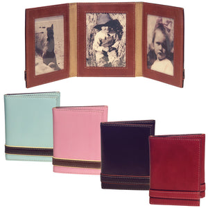 Italian Leather Photo Frame Triple 25 X 35 Alicia Klein