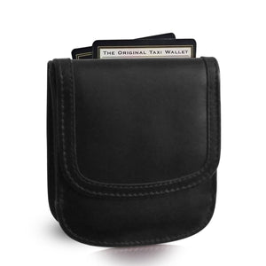 """Black 01"" Taxi Wallet.  Italian Leather.  Minimalist.  Folding Wallet for Cards, Coins and Bills."