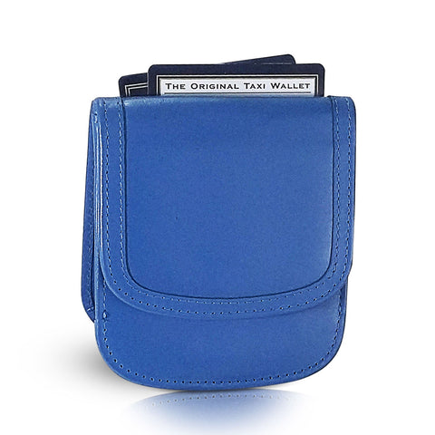 Leather Taxi Wallet - Compact Coin Wallet for Men and Women - Federal Blue