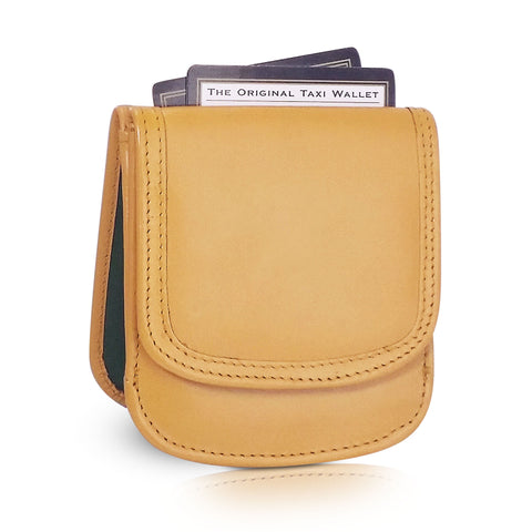 Leather Taxi Wallet - Compact Coin Wallet for Men and Women - Mustard