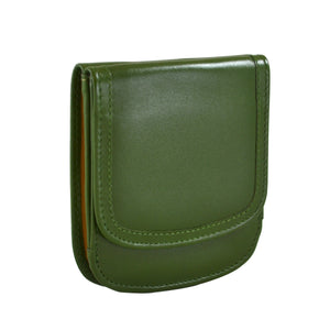 """Olive"" Taxi Wallet.  Italian Leather.  Minimalist.  Folding Wallet for Cards, Coins and Bills."