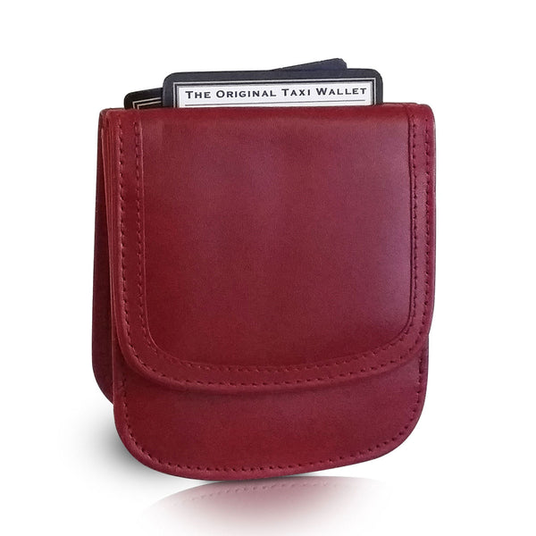 """Pomegranate"" Taxi Wallet.  Italian Leather.  Minimalist.  Folding Wallet for Cards, Coins and Bills."