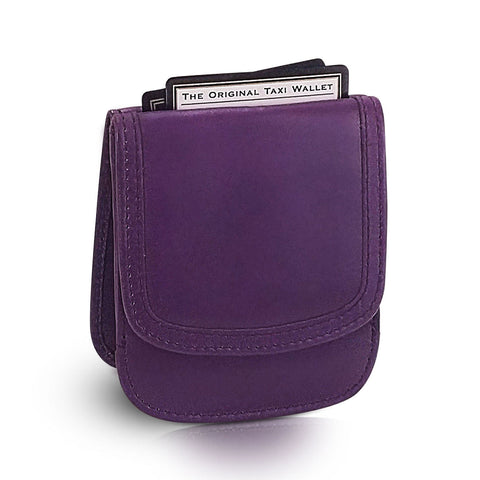 Leather Taxi Wallet - Compact Coin Wallet for Men and Women - Purple