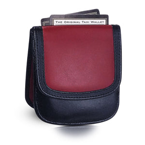 """Red/Black"" Taxi Wallet.  Italian Leather.  Minimalist.  Folding Wallet for Cards, Coins and Bills."