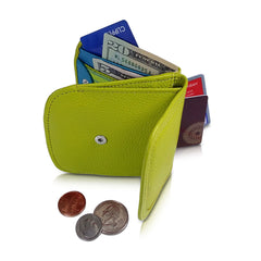 """Daiquiri Green"" Taxi Wallet.  Italian Leather.  Minimalist.  Folding Wallet for Cards, Coins and Bills."