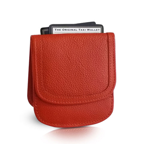 Leather Taxi Wallet - Compact Coin Wallet for Men and Women - Pumpkin Spice