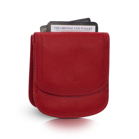 """Bright Red"" Taxi Wallet.  Italian Leather.  Minimalist.  Folding Wallet for Cards, Coins and Bills."