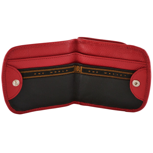 Red leather Taxi Wallet, open view