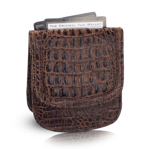 Vintage Croco Taxi Wallet - Brown
