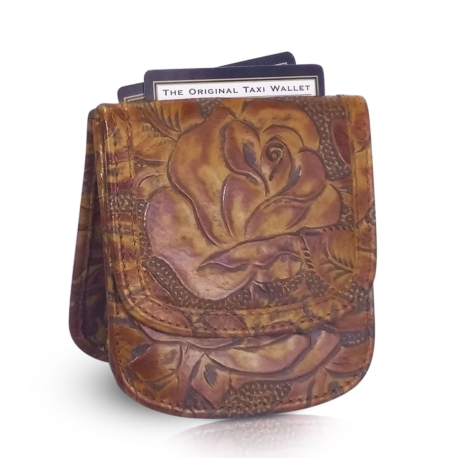 Tooled Print Taxi Wallet - Cognac