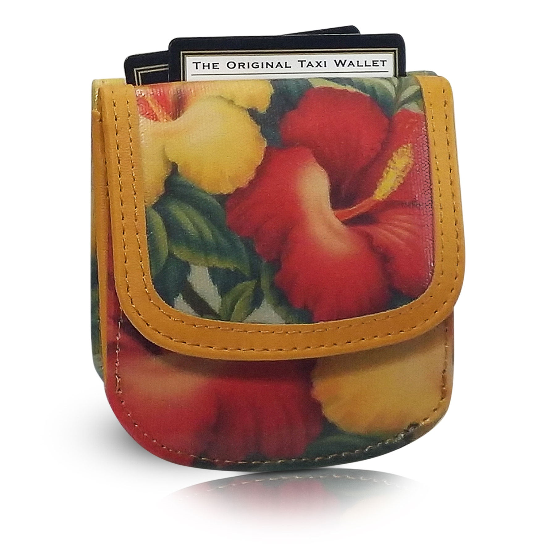 Hawaii Vintage Hibiscus - Small Folding Minimalist Card Wallet for Women Coin Purse by TAXI WALLET®