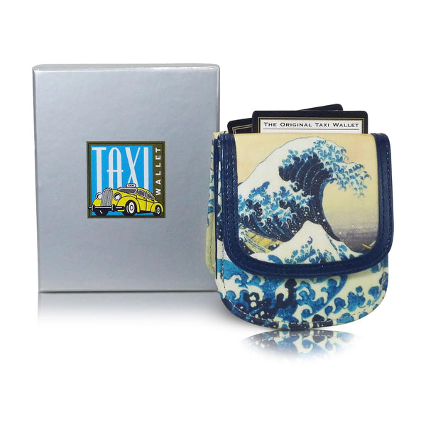 HOKUSAI WAVE - Vegan Non-Leather. RFID. Compact coin, bill, card wallet.
