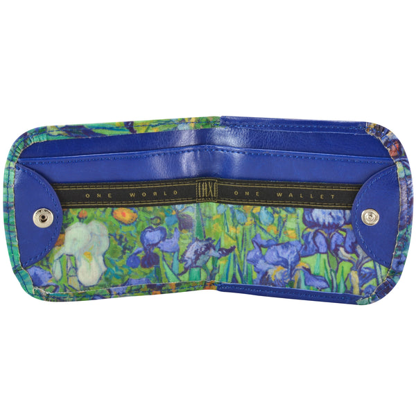 "Van Gogh ""Irises"" Taxi Wallet - Vegan Non-Leather. RFID. Compact coin, bill, card wallet."