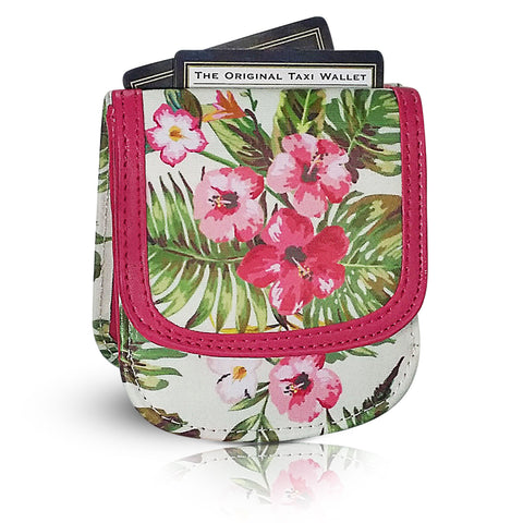 Vegan Taxi Wallet - Hawaiian gifts say Mahalo everyday!  Pink Hibiscus.