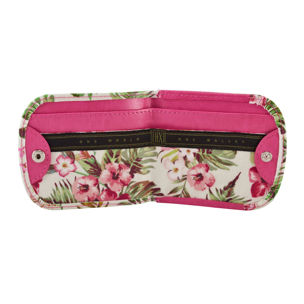 HAWAII PINK HIBISCUS - Small Folding Minimalist Card Wallet for Women Coin Purse by TAXI WALLET®