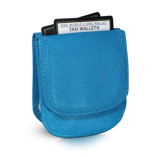 Vegan Leather Taxi Wallet - Compact Coin Wallet for Men and Women - Teal Blue