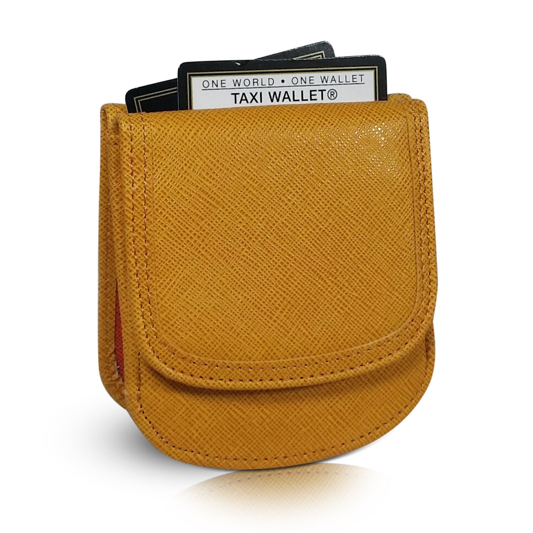 Vegan Leather Taxi Wallet - Compact Coin Wallet for Men and Women - Marigold