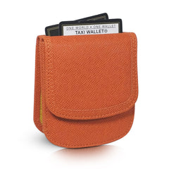 Vegan Leather Taxi Wallet - Compact Coin Wallet for Men and Women - Persimmon