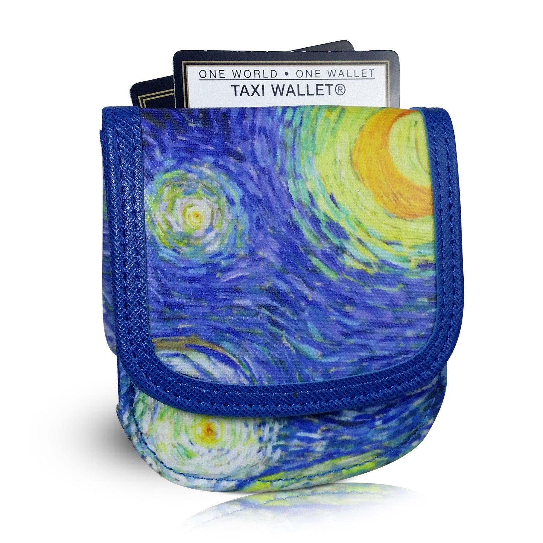 "Van Gogh ""Starry Night"" Taxi Wallet - Vegan Non-Leather. RFID. Compact coin, bill, card wallet."