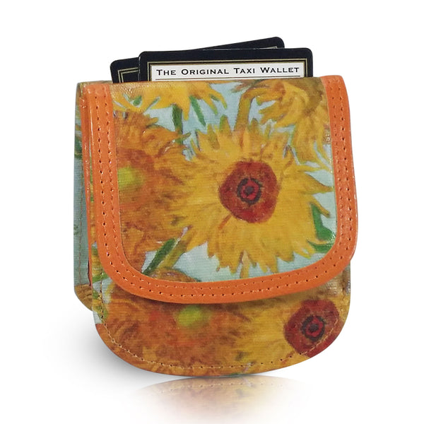 "Van Gogh ""Sunflowers"" - Vegan Non-Leather. RFID. Compact coin, bill, card wallet."