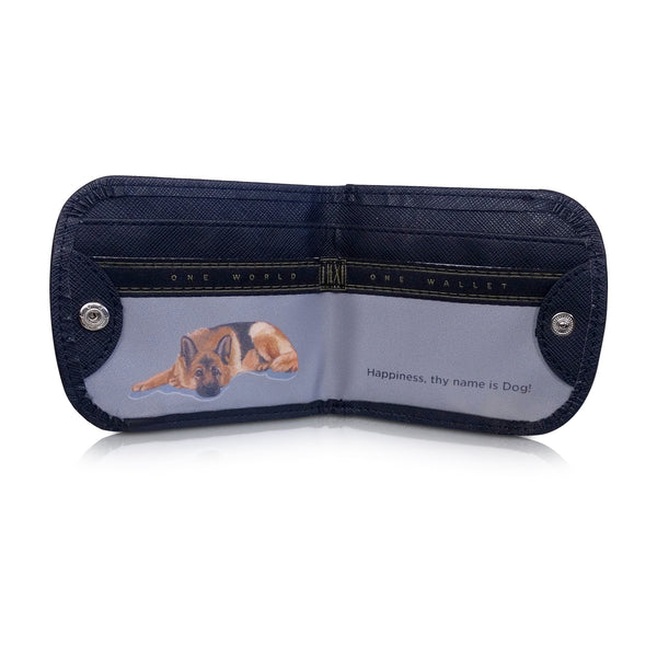 GERMAN SHEPHERD Small Folding RFID Minimalist Card Wallet by TAXI WALLET® for Men + Women Coin Purse