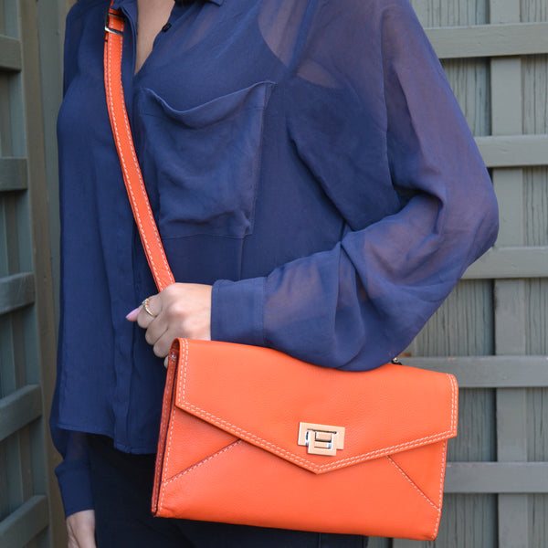 **JUST A FEW LEFT IN STOCK** Envelope Clutch - Tangerine