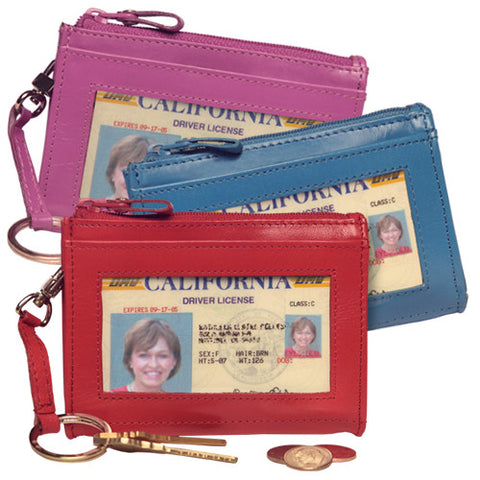 Leather Coin Purse and ID Holder with Key Fob