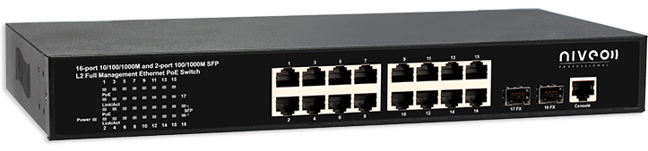 Switch Gb Ethernet 16P L2 Poe