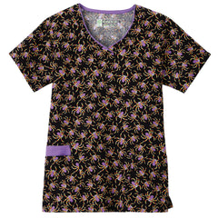 Halloween Bio Prints Ladies Contrast Edged V-Neck Top - Eek!