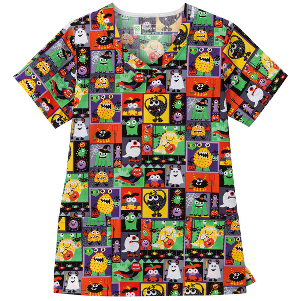 Halloween Bio Ladies Overlap V-Neck Scrub Top - Silly Creatures
