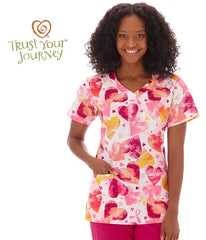 Trust Your Journey Ladies Courage Overlap V-Neck Scrub Top