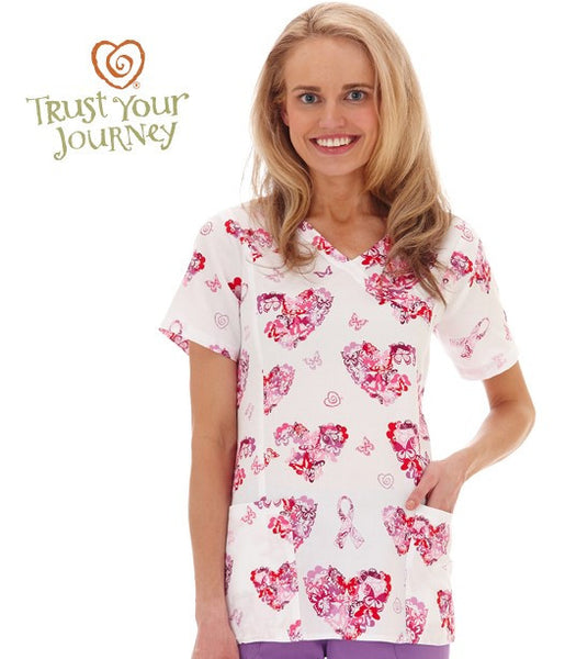 Trust Your Journey Ladies Empower Pink Mock Wrap Scrub Top
