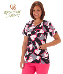 Trust Your Journey Ribbons of Hope Ladies Overlap V-Neck Scrub Top