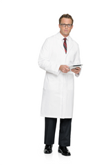 "Landau Men's 44 1/2"" 100% Cotton Lab Coat"