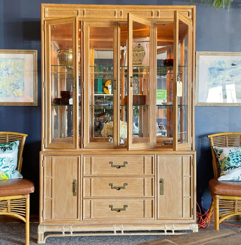 Stanley Lighted Bamboo China Hutch