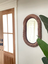 Load image into Gallery viewer, Oval Wicker Mirror