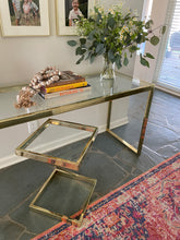 Load image into Gallery viewer, Hollywood Regency Brass Parsons Console