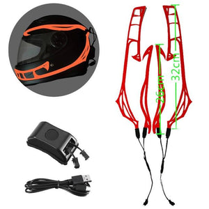 Helmet Cold Light EL Signal Flashing Stripe - Pattern C Life Hack Inventions Red