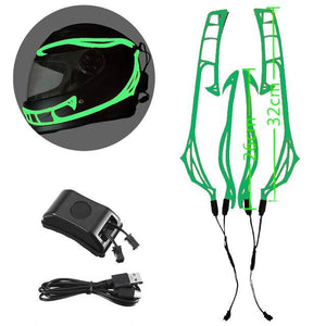 Helmet Cold Light EL Signal Flashing Stripe - Pattern C Life Hack Inventions Green