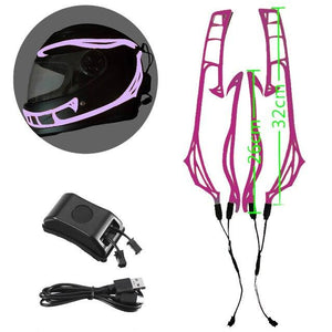 Helmet Cold Light EL Signal Flashing Stripe - Pattern C Life Hack Inventions Purple