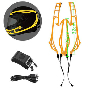 Helmet Cold Light EL Signal Flashing Stripe - Pattern C Life Hack Inventions Orange